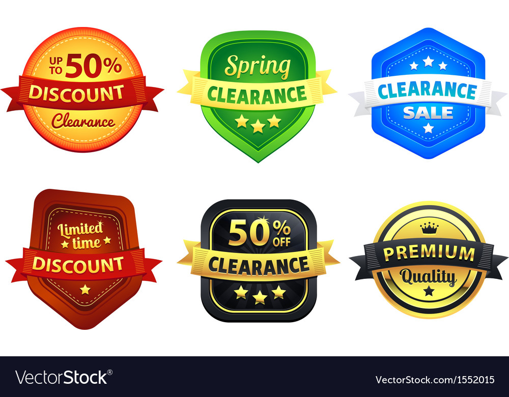 Colorful clearance discount badges vector | Price: 1 Credit (USD $1)