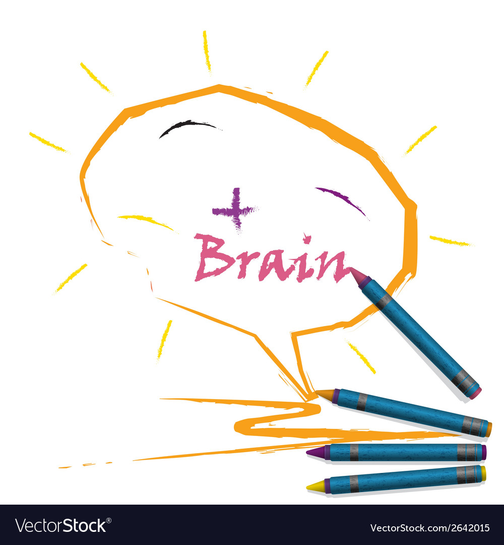 Colorful pencil crayons with creative brain sign vector | Price: 1 Credit (USD $1)
