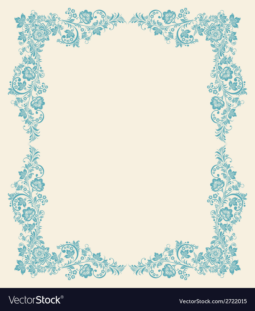 Frame of floral elements frame in gzhel style vector | Price: 1 Credit (USD $1)