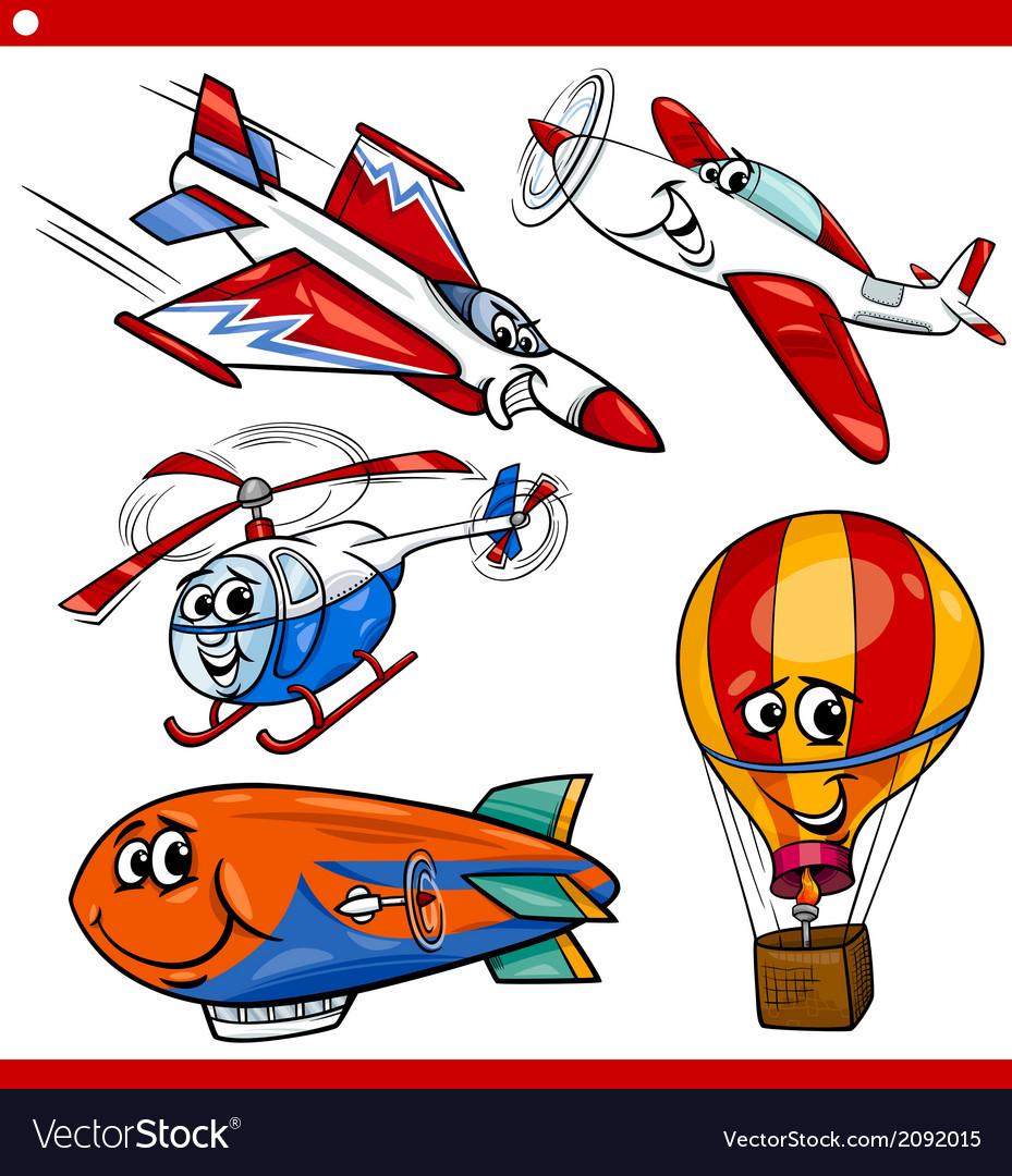 Funny cartoon aircraft vehicles set vector | Price: 1 Credit (USD $1)