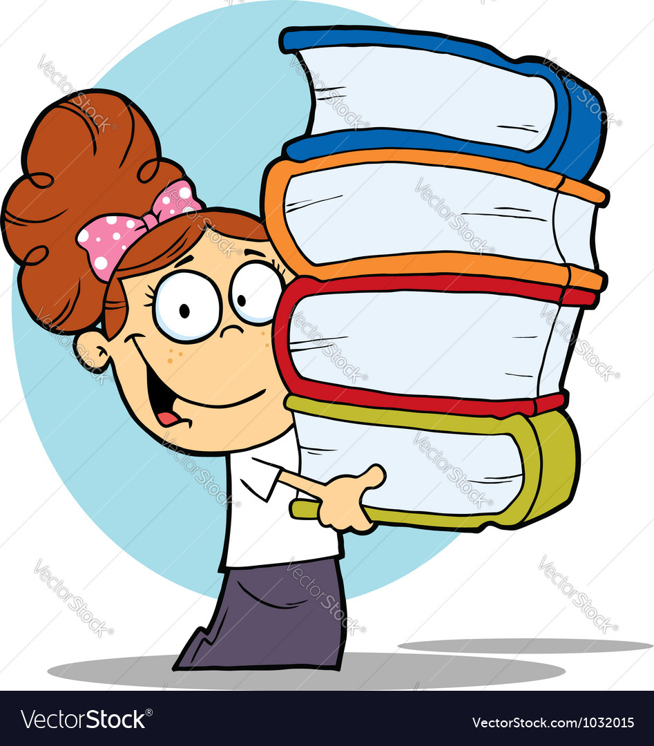 Girl carrying a stack of books vector | Price: 1 Credit (USD $1)