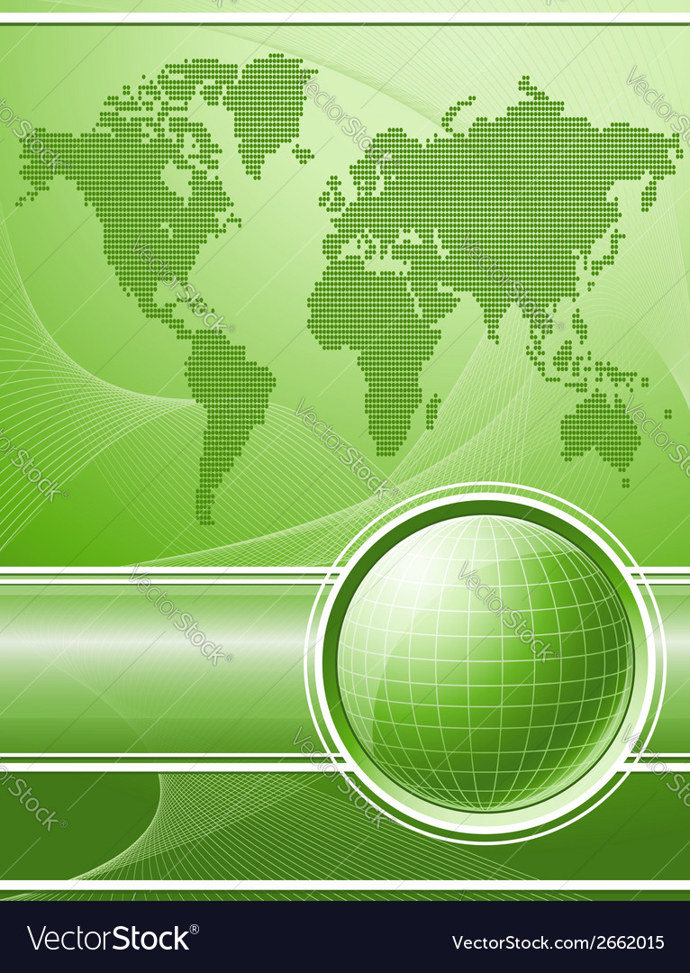 Green background with globe and world map vector | Price: 1 Credit (USD $1)