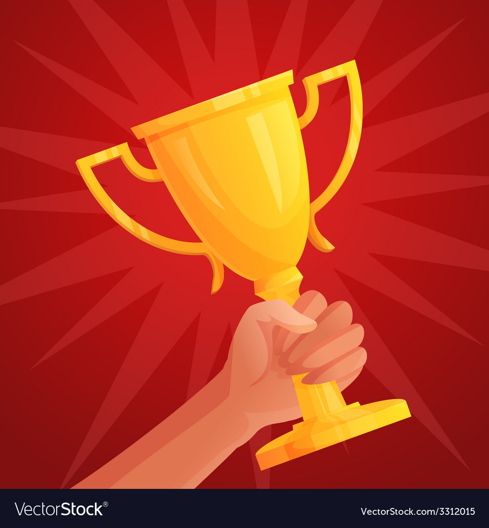 Hand holding trophy vector | Price: 1 Credit (USD $1)