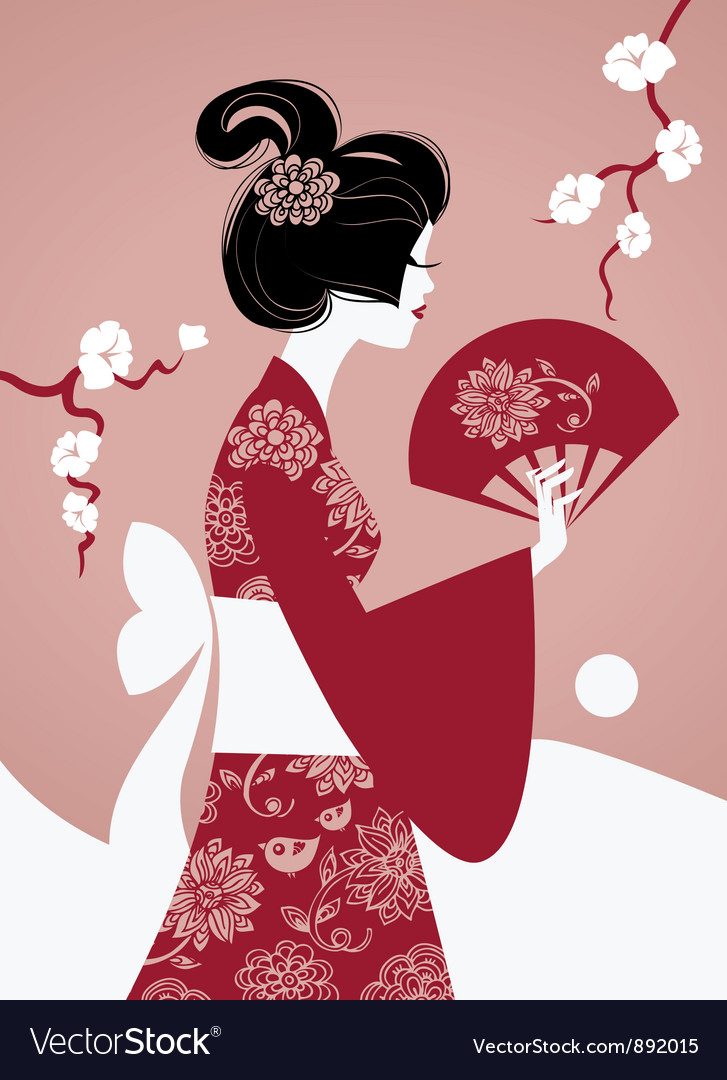 Japanese girl silhouette vector   Price: 1 Credit (USD $1)