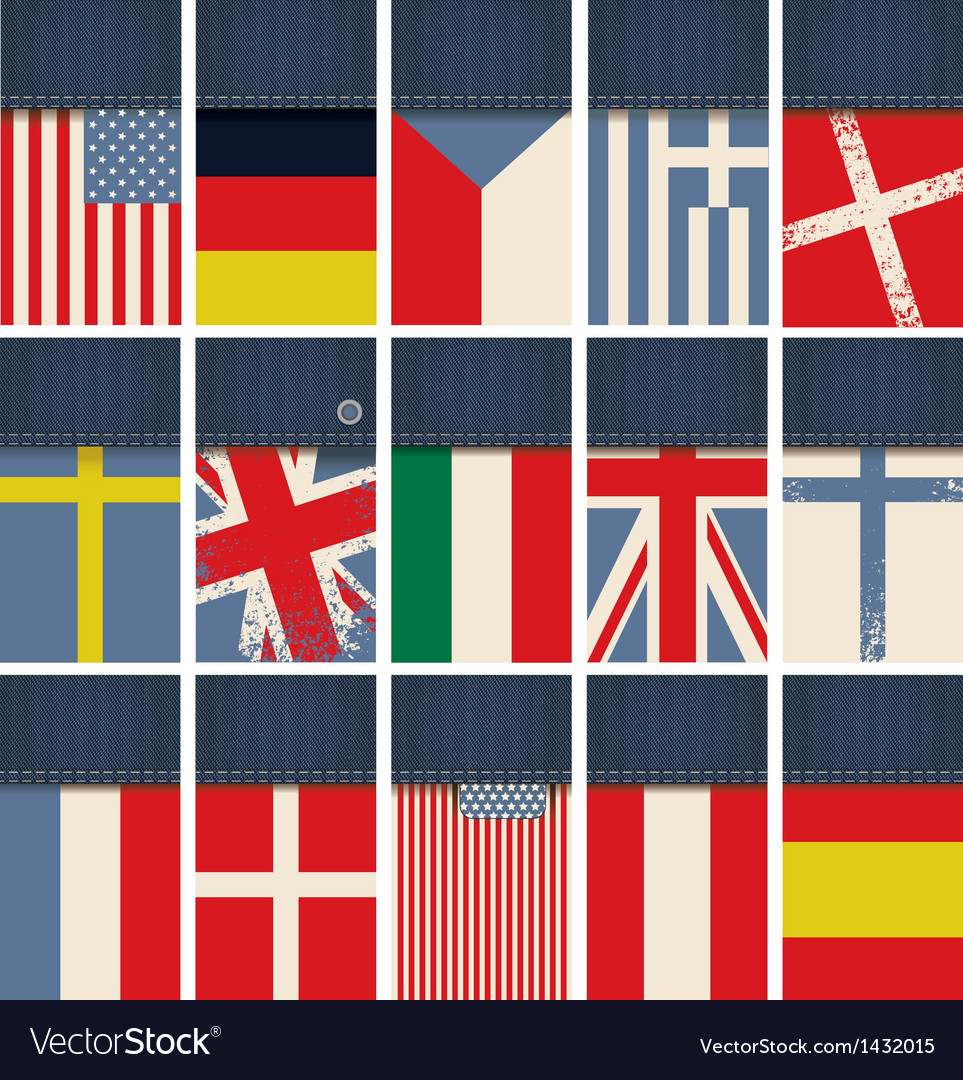 Jeans fabric with flags vector | Price: 3 Credit (USD $3)