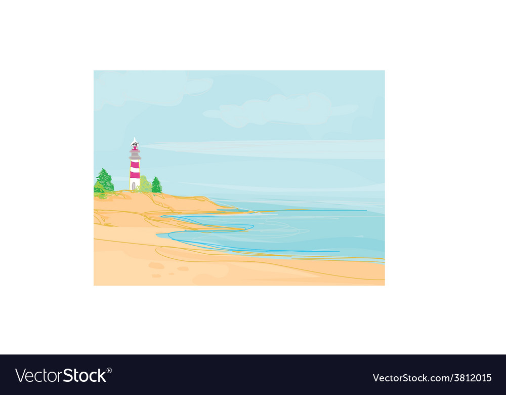 Lighthouse seen from a tiny beach vector | Price: 1 Credit (USD $1)