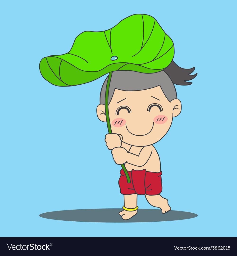 Lotus leaf boy vector   Price: 1 Credit (USD $1)