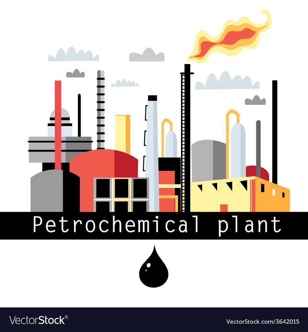 Petrochemical plant vector | Price: 1 Credit (USD $1)