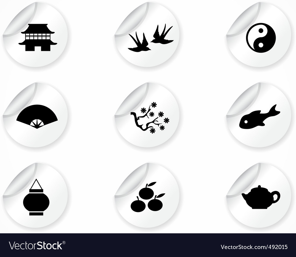 Stickers with icons vector | Price: 1 Credit (USD $1)