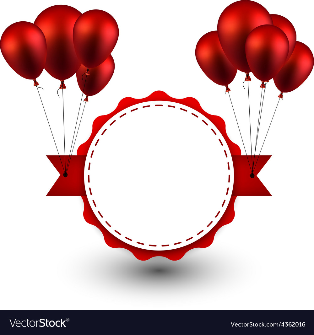 Award red ribbon background with balloons vector | Price: 1 Credit (USD $1)