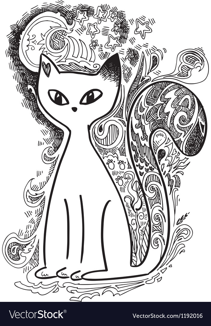 Cat in the moonlight sketchy doodles vector | Price: 1 Credit (USD $1)