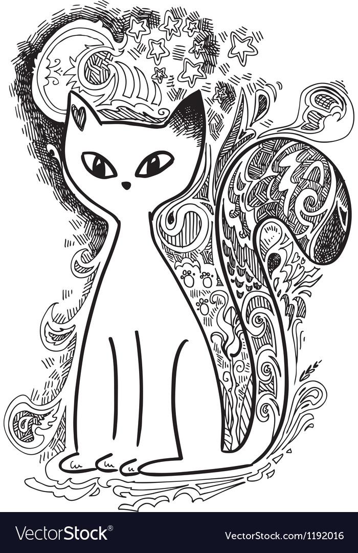 Cat in the moonlight sketchy doodles vector | Price: 1 Credit (USD $1)