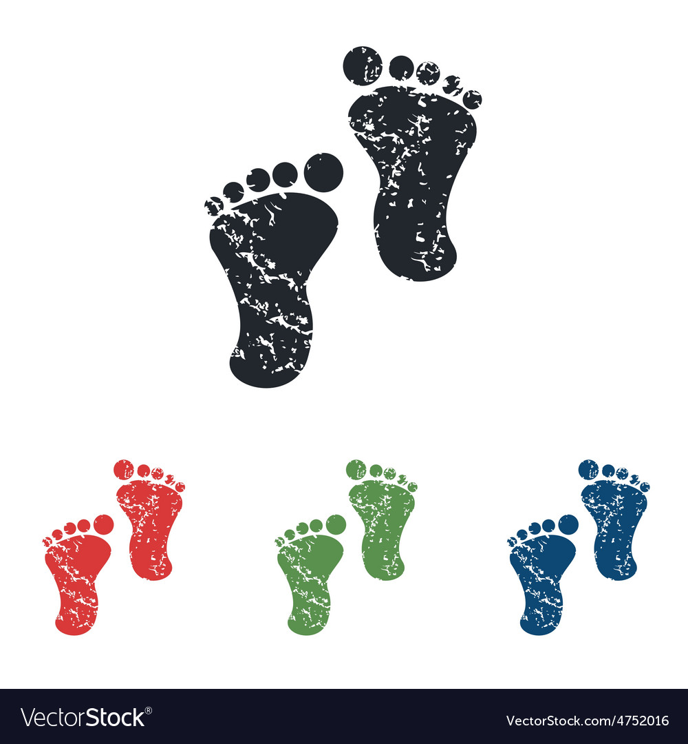 Footprint grunge icon set vector | Price: 1 Credit (USD $1)