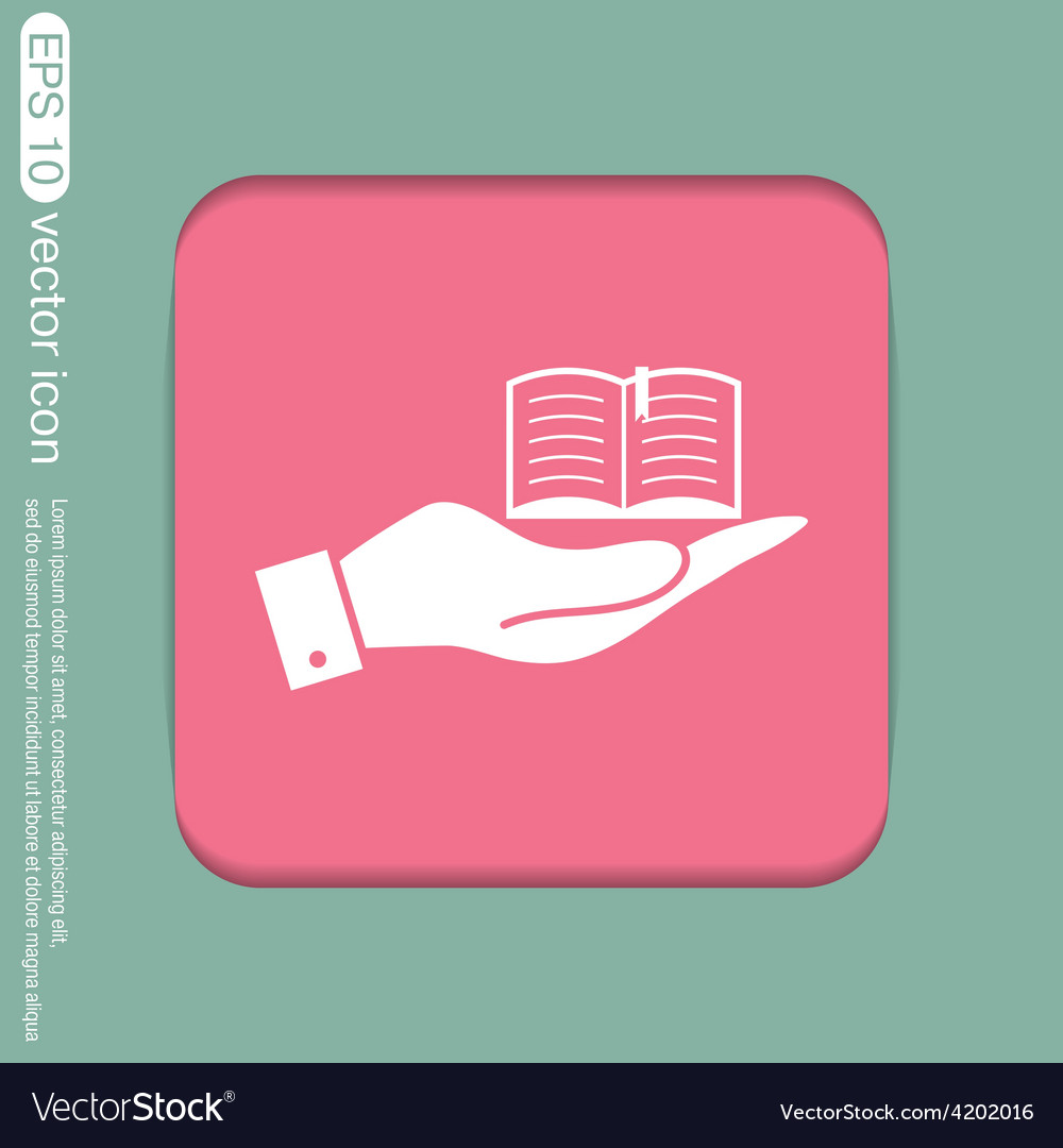 Hand holding a open book sign vector   Price: 1 Credit (USD $1)