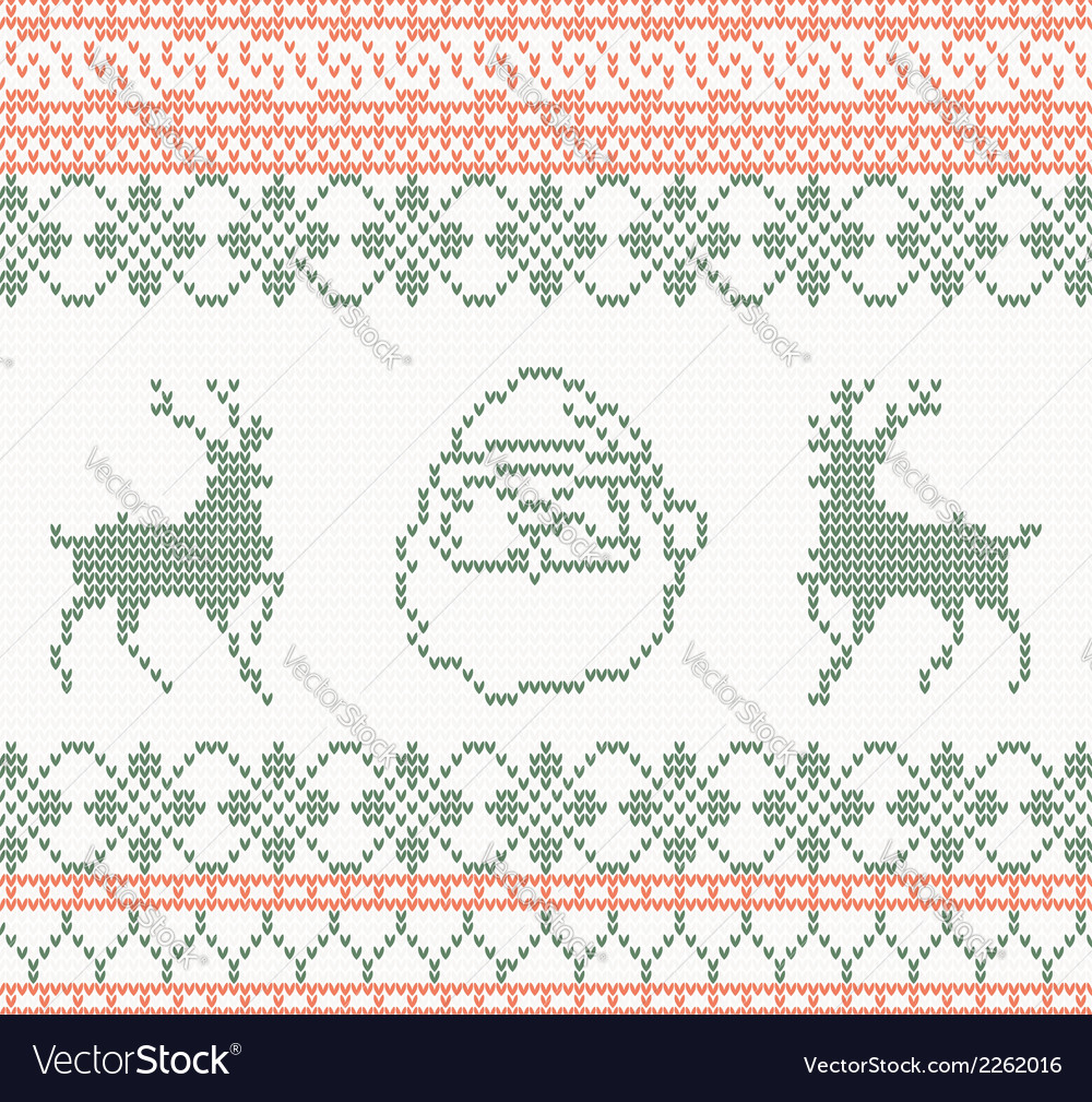 Knitted pattern with santa claus and deer vector | Price: 1 Credit (USD $1)