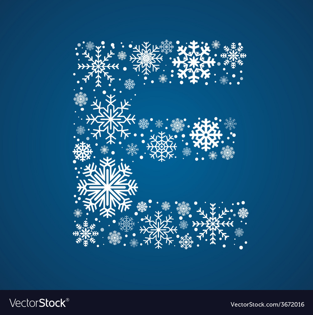 Letter e font frosty snowflakes vector | Price: 1 Credit (USD $1)