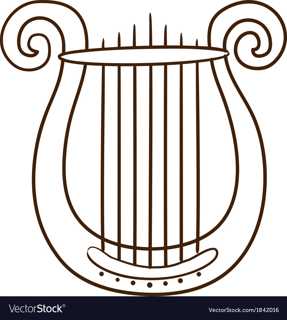Lire musical instrument isolated on white vector | Price: 1 Credit (USD $1)