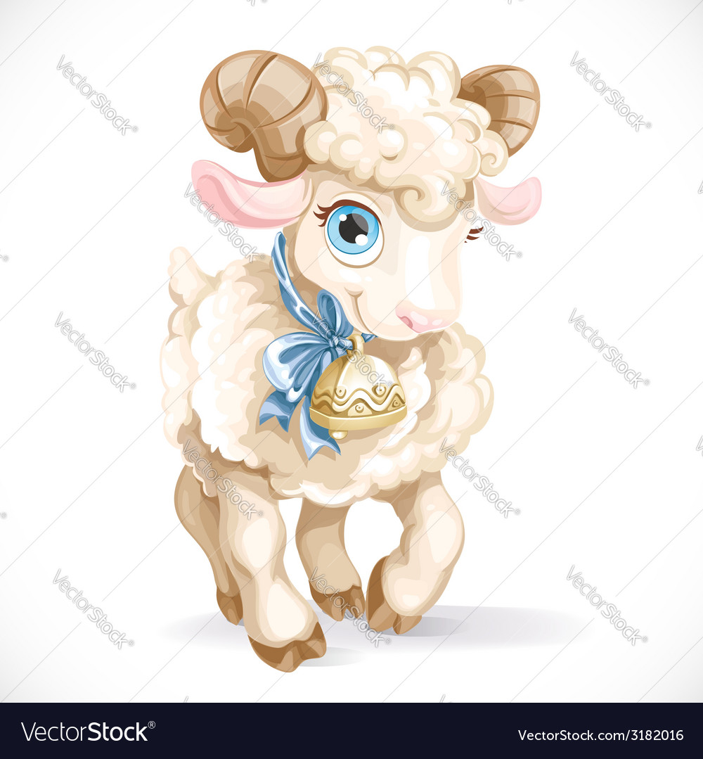 Little cute lamb isolated on a white background vector | Price: 3 Credit (USD $3)