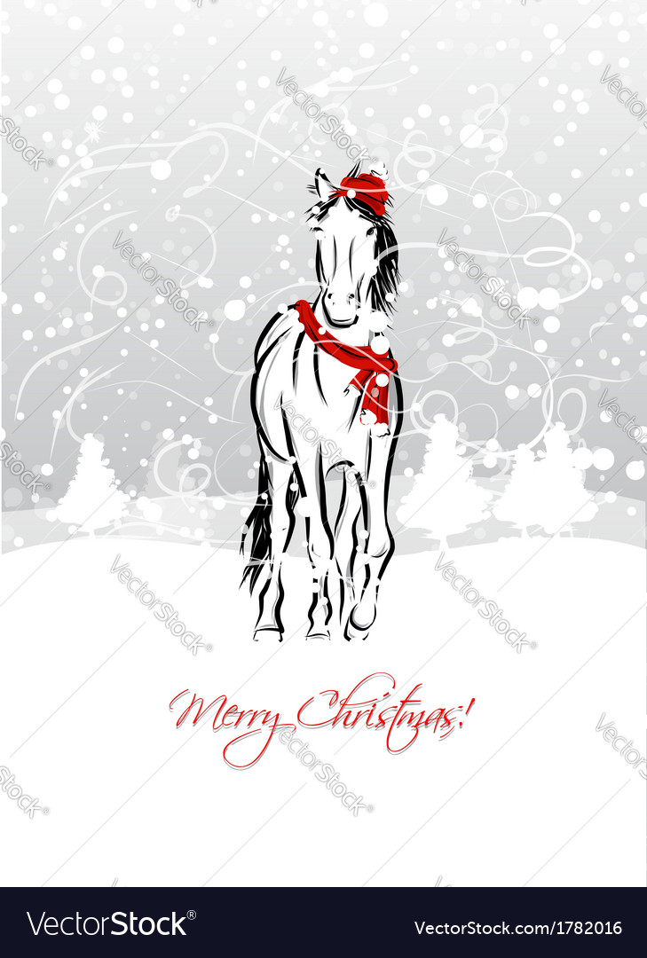 Santa horse sketch for your design symbol of 2014 vector | Price: 1 Credit (USD $1)