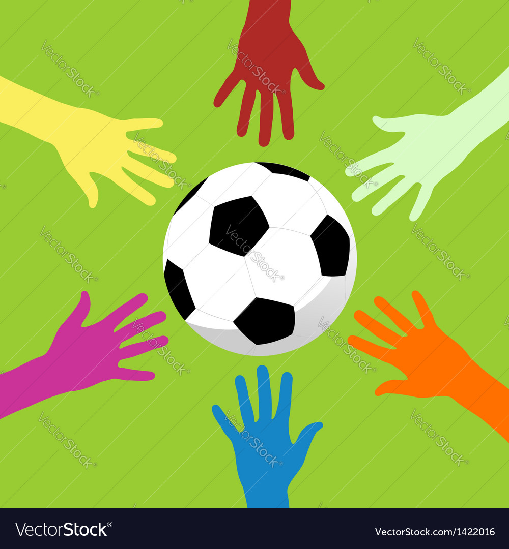 Soccer ball and hands around vector | Price: 1 Credit (USD $1)