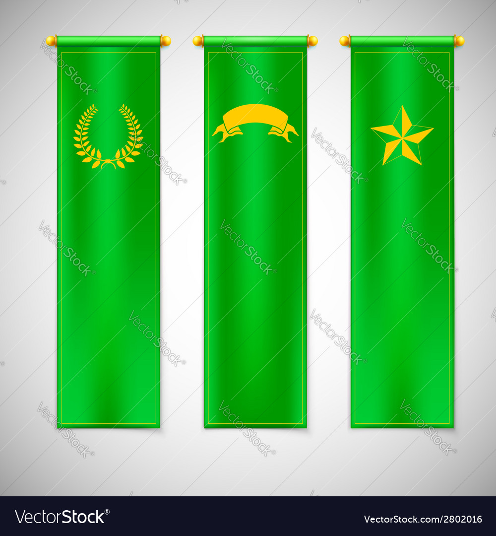 Vertical green flags with emblems vector | Price: 1 Credit (USD $1)