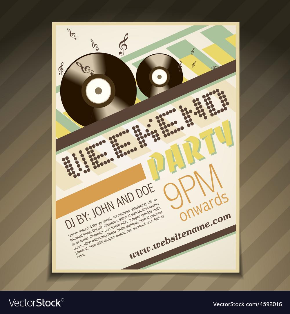 Weekend party brochure vector | Price: 1 Credit (USD $1)