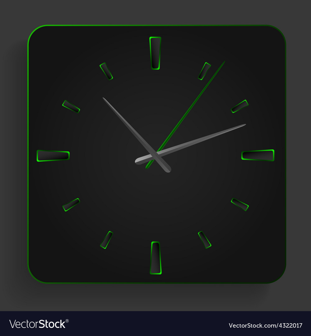 Analog clock with green neon lights vector | Price: 1 Credit (USD $1)