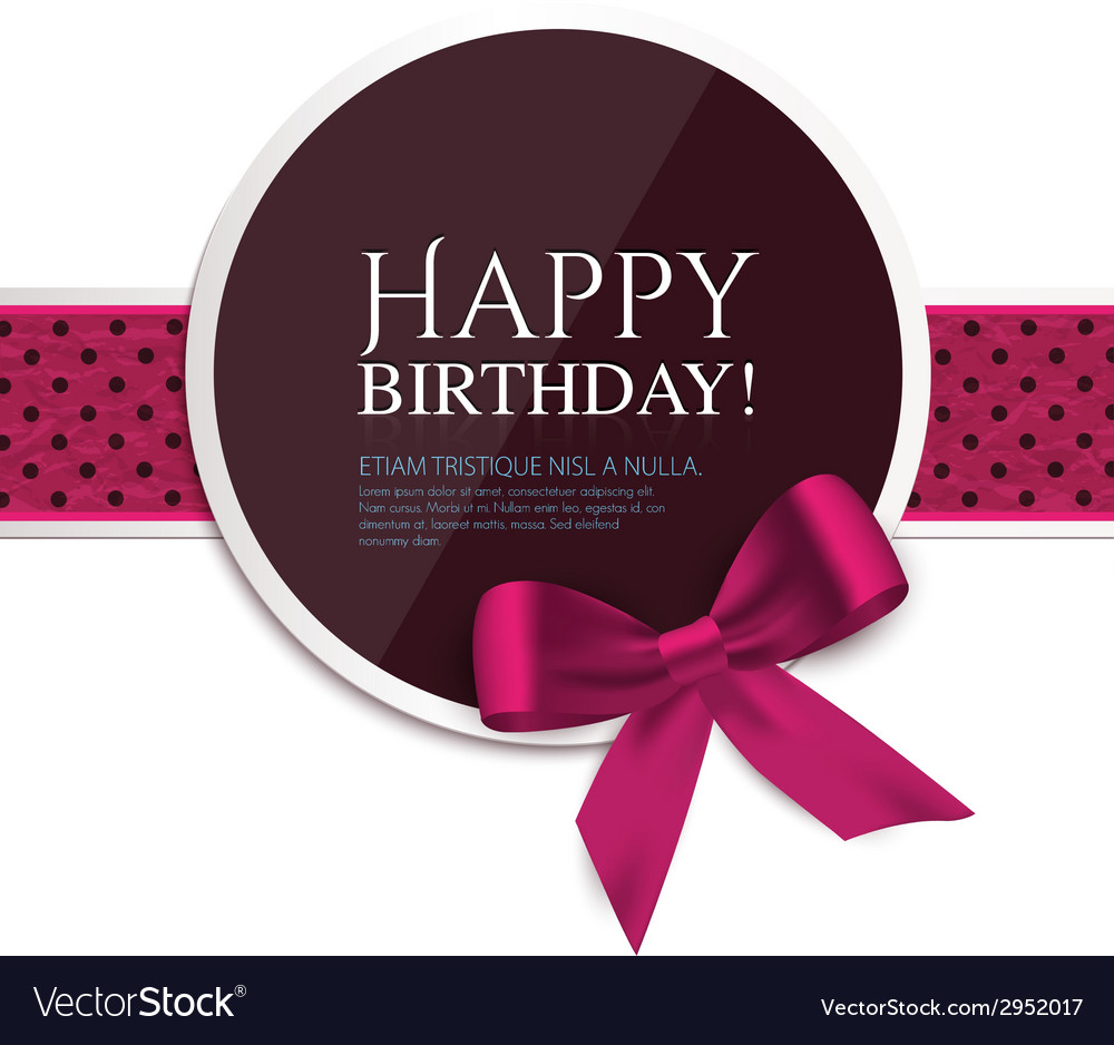 Birthday card with ribbon and birthday text vector | Price: 1 Credit (USD $1)
