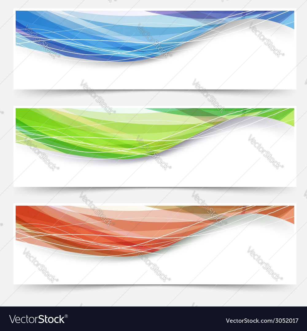 Bright wave lines red blue green headers vector | Price: 1 Credit (USD $1)
