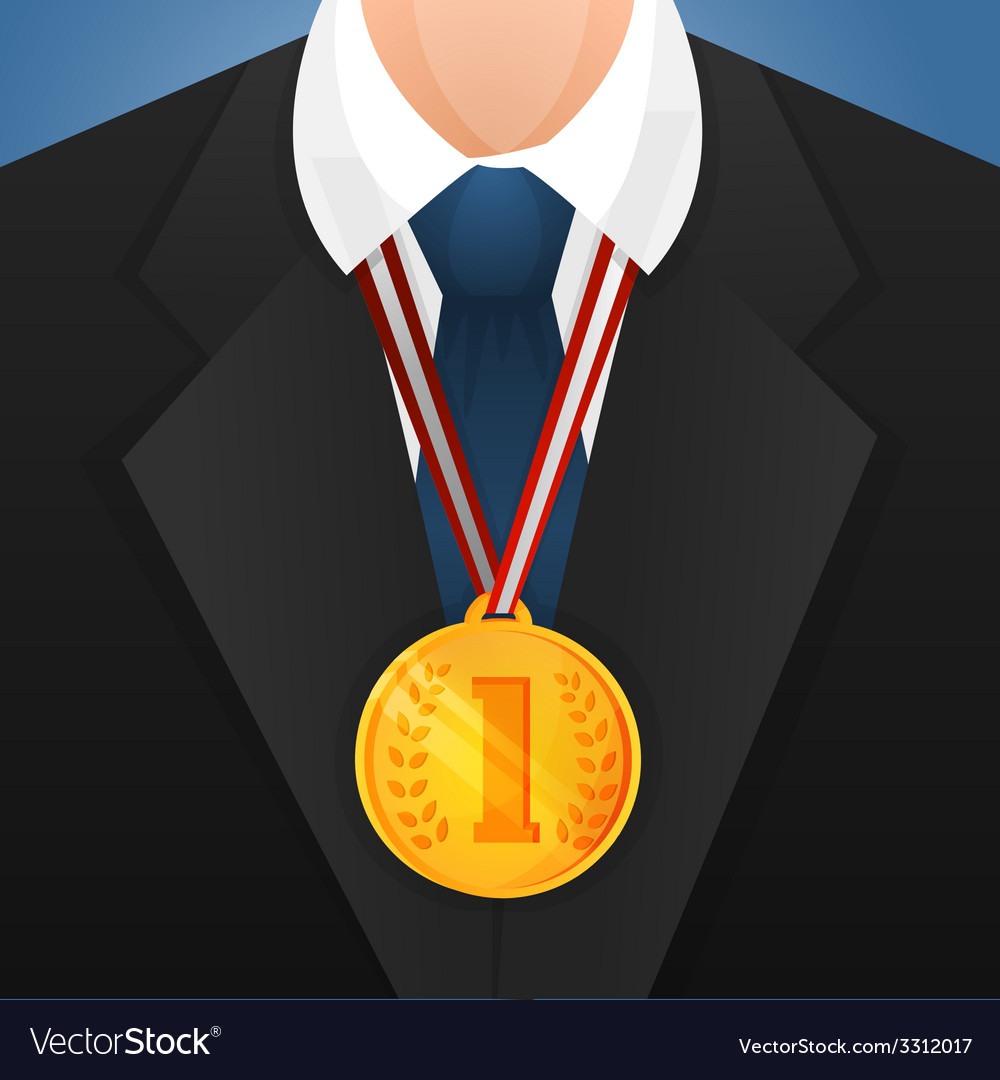 Businessman with medal vector | Price: 1 Credit (USD $1)
