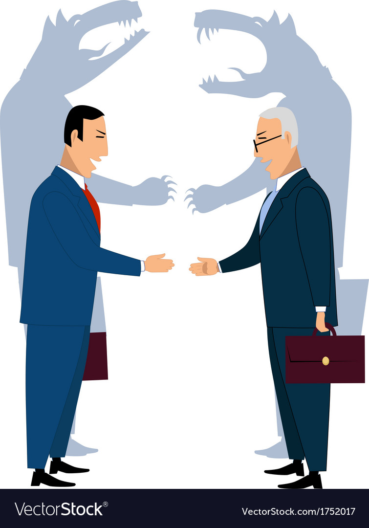 Deceiving businessmen shaking hands vector | Price: 1 Credit (USD $1)
