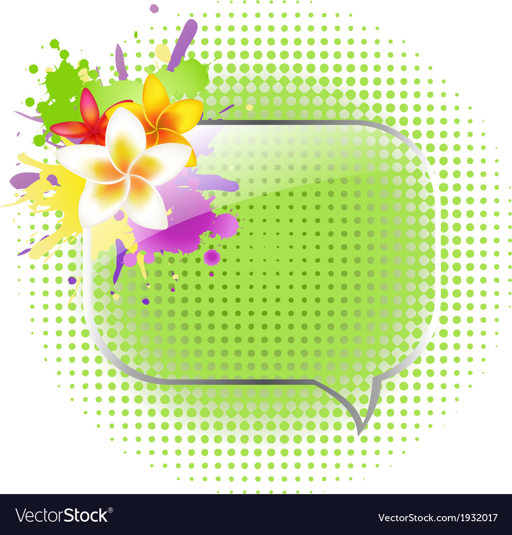 Glass speech bubbles with plumeria vector | Price: 1 Credit (USD $1)