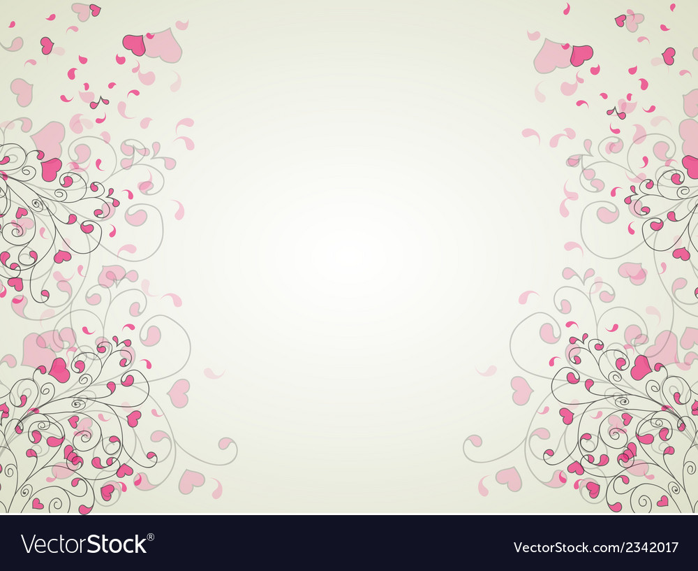 Hearts and swirls on on a light background vector | Price: 1 Credit (USD $1)