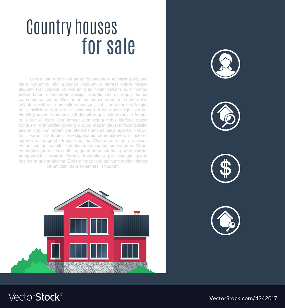 Pink country house in flat style vector | Price: 3 Credit (USD $3)