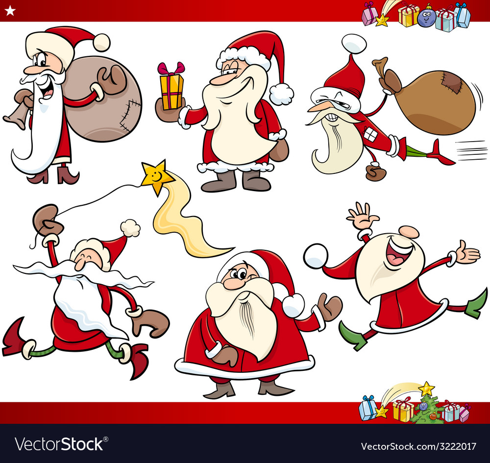 Santa and christmas cartoon set vector | Price: 3 Credit (USD $3)