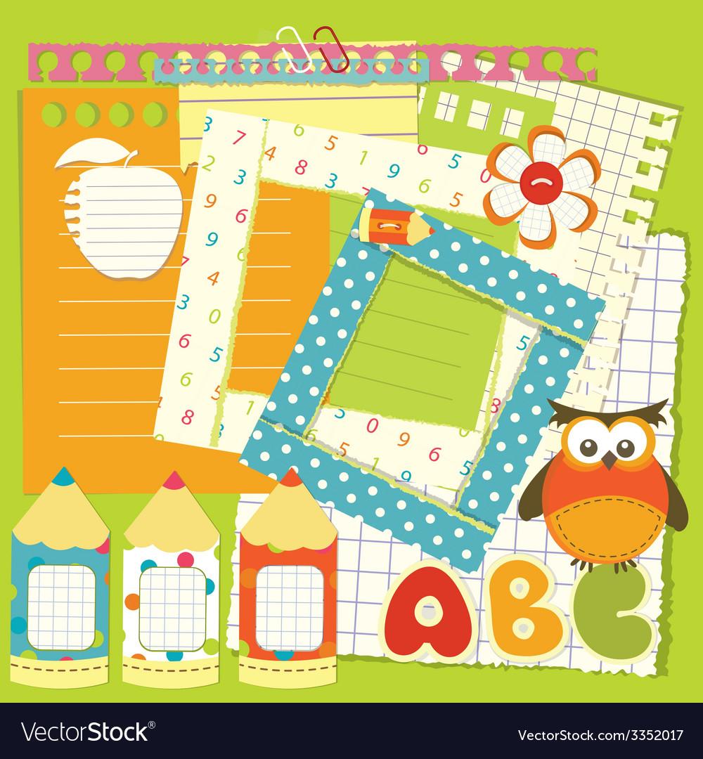 School scrapbook set vector | Price: 1 Credit (USD $1)