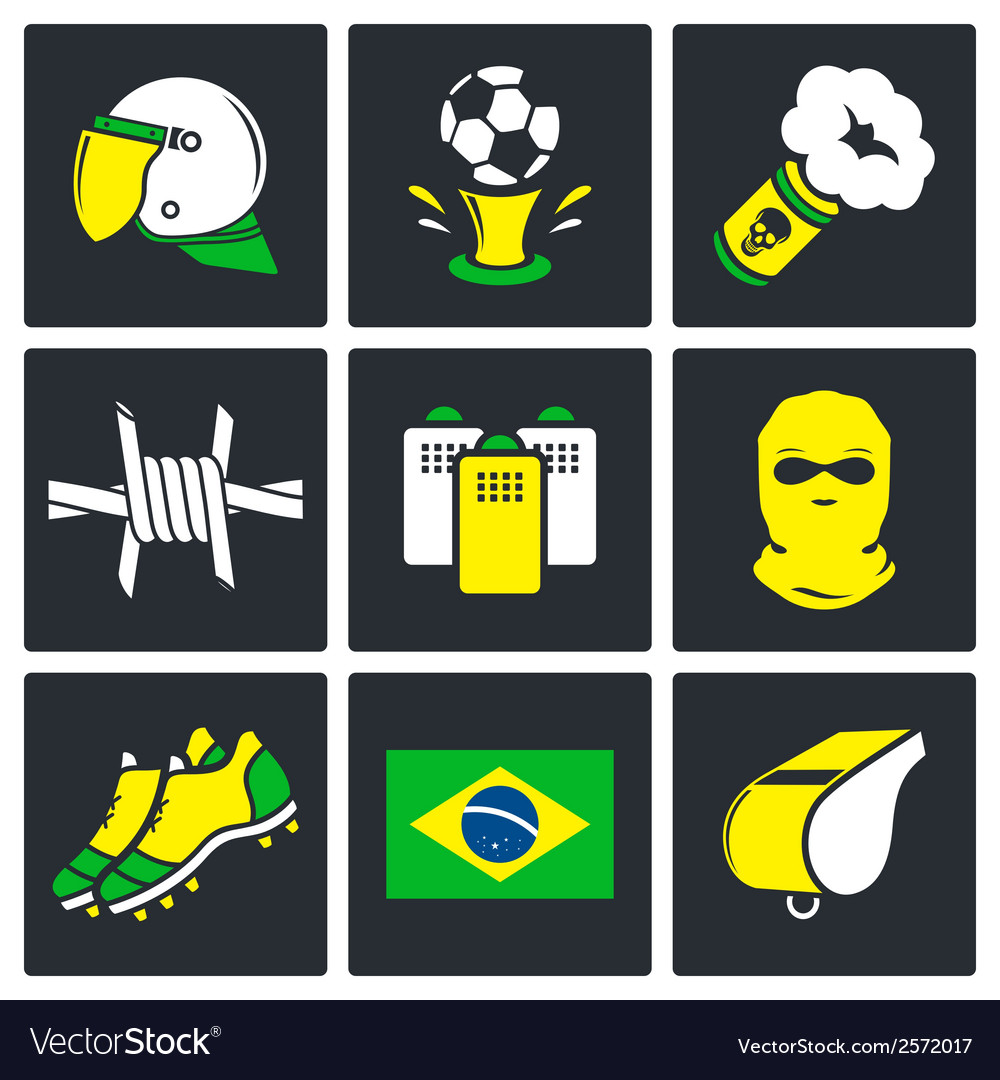 Soccer fans ultras icons set vector | Price: 1 Credit (USD $1)