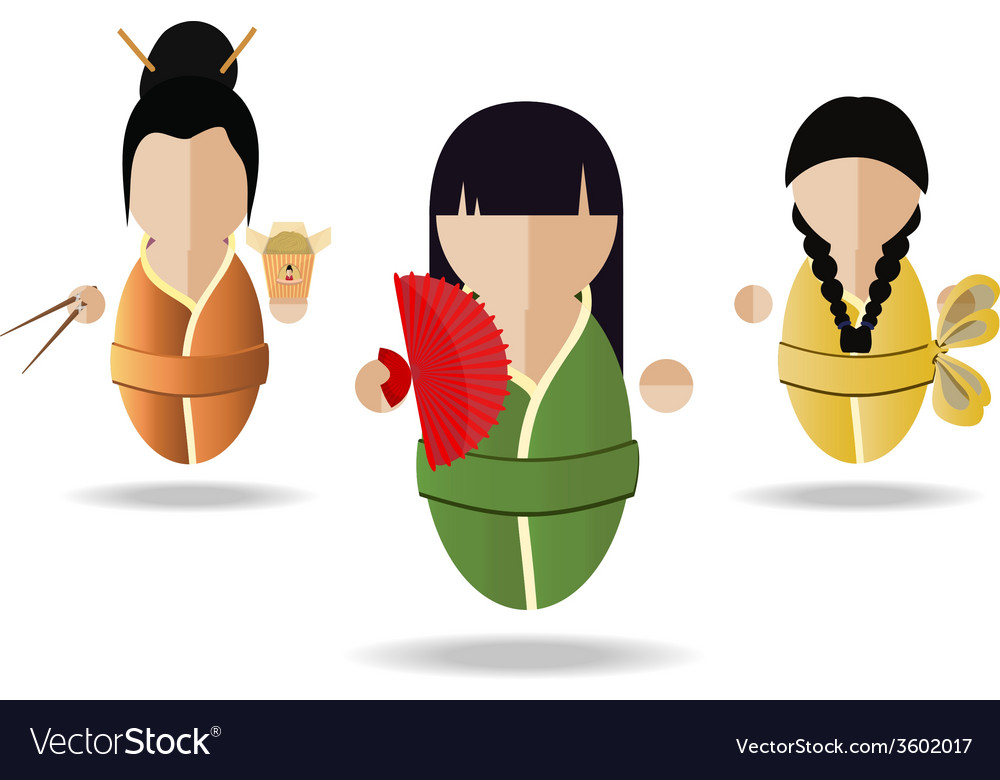 Three asian girl vector | Price: 1 Credit (USD $1)