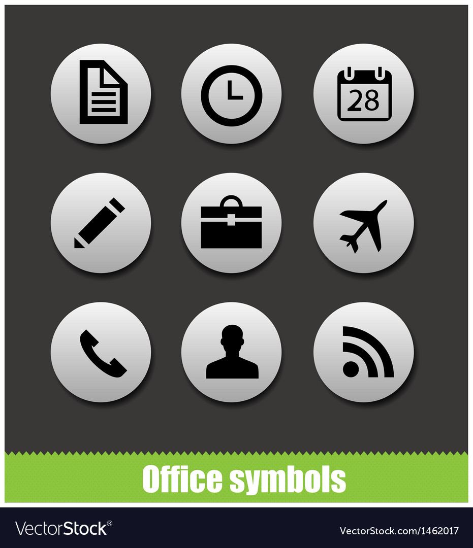 Web office circle pictogram symbols vector | Price: 1 Credit (USD $1)