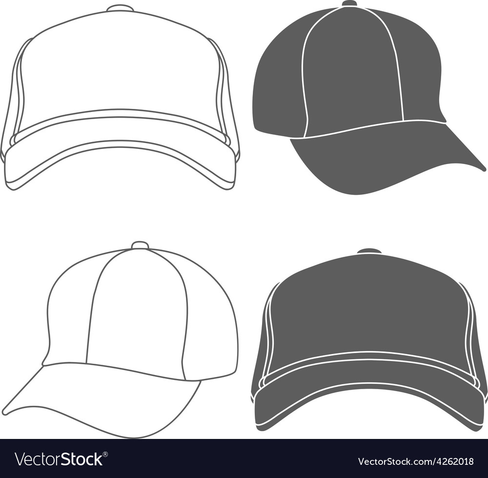 Baseball cap outline silhouette template isolated vector | Price: 1 Credit (USD $1)