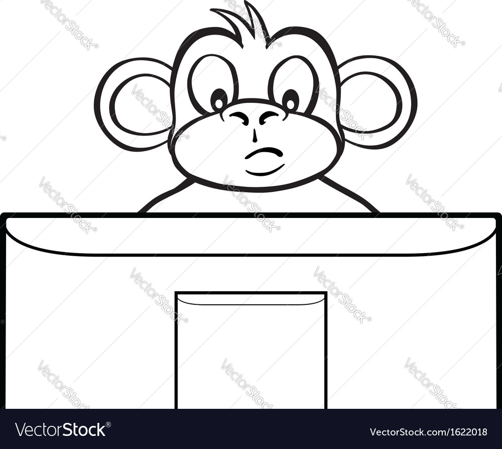 Black and white monkey behind screen vector | Price: 1 Credit (USD $1)