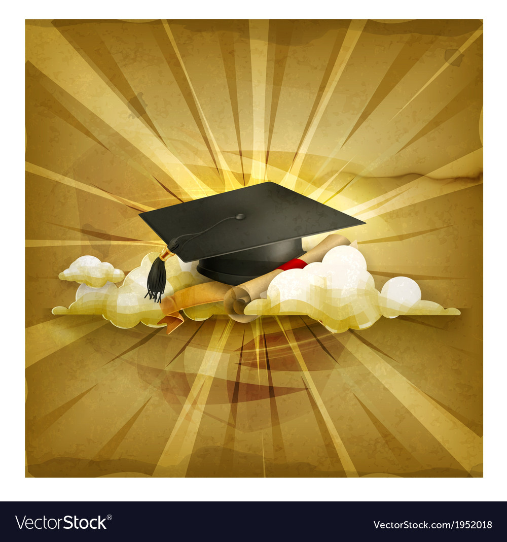 Graduation cap and diploma old style background vector | Price: 1 Credit (USD $1)