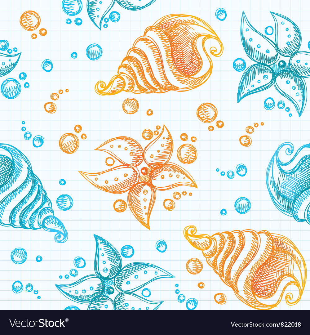 Hand drawn pattern of starfishes and shells vector | Price: 1 Credit (USD $1)