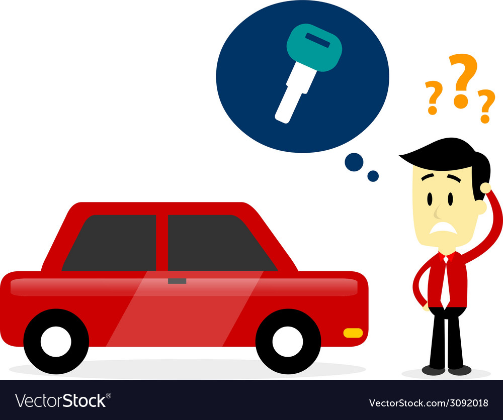 Man missing a car key vector | Price: 1 Credit (USD $1)