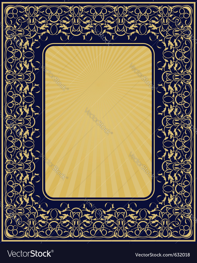 Rectangle gold frame with floral ornamental border vector | Price: 1 Credit (USD $1)