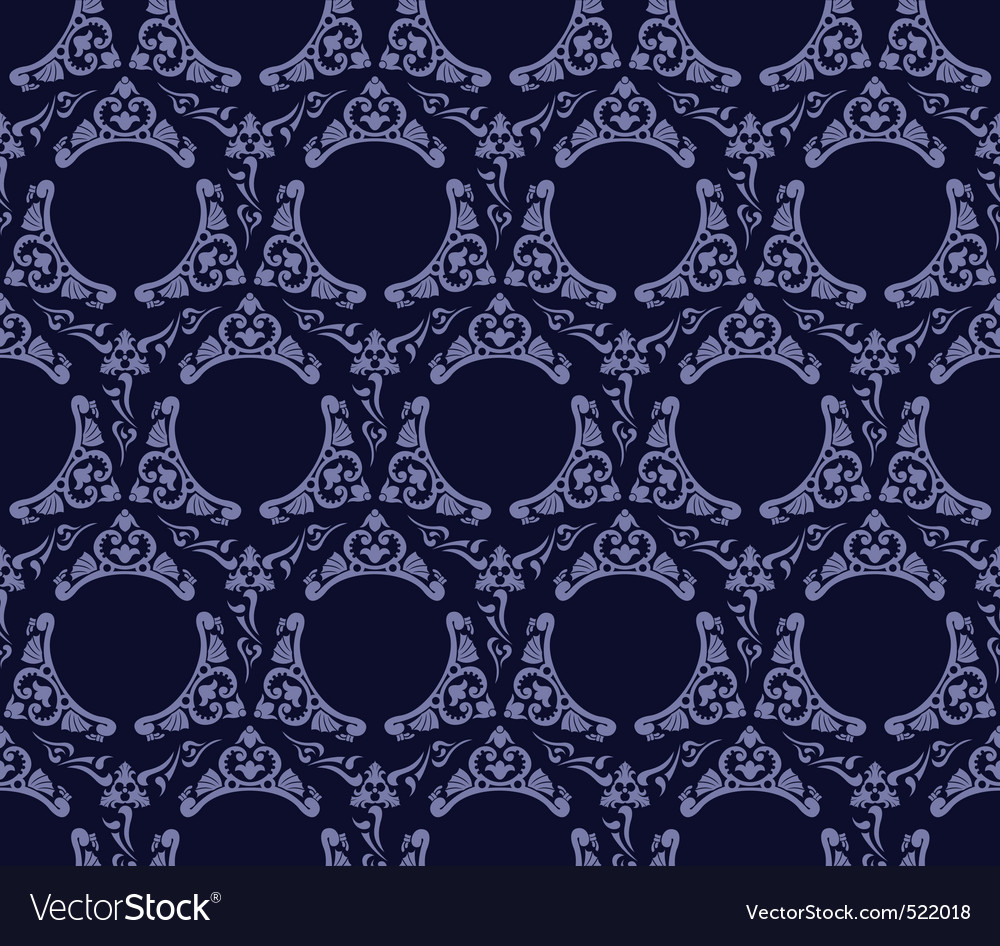 Seamless wallpaper background vintage blue black vector | Price: 1 Credit (USD $1)