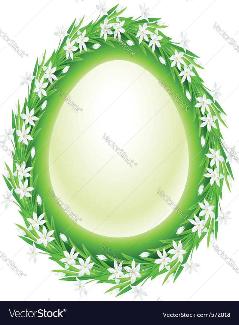 Spring flower frame egg vector | Price: 1 Credit (USD $1)