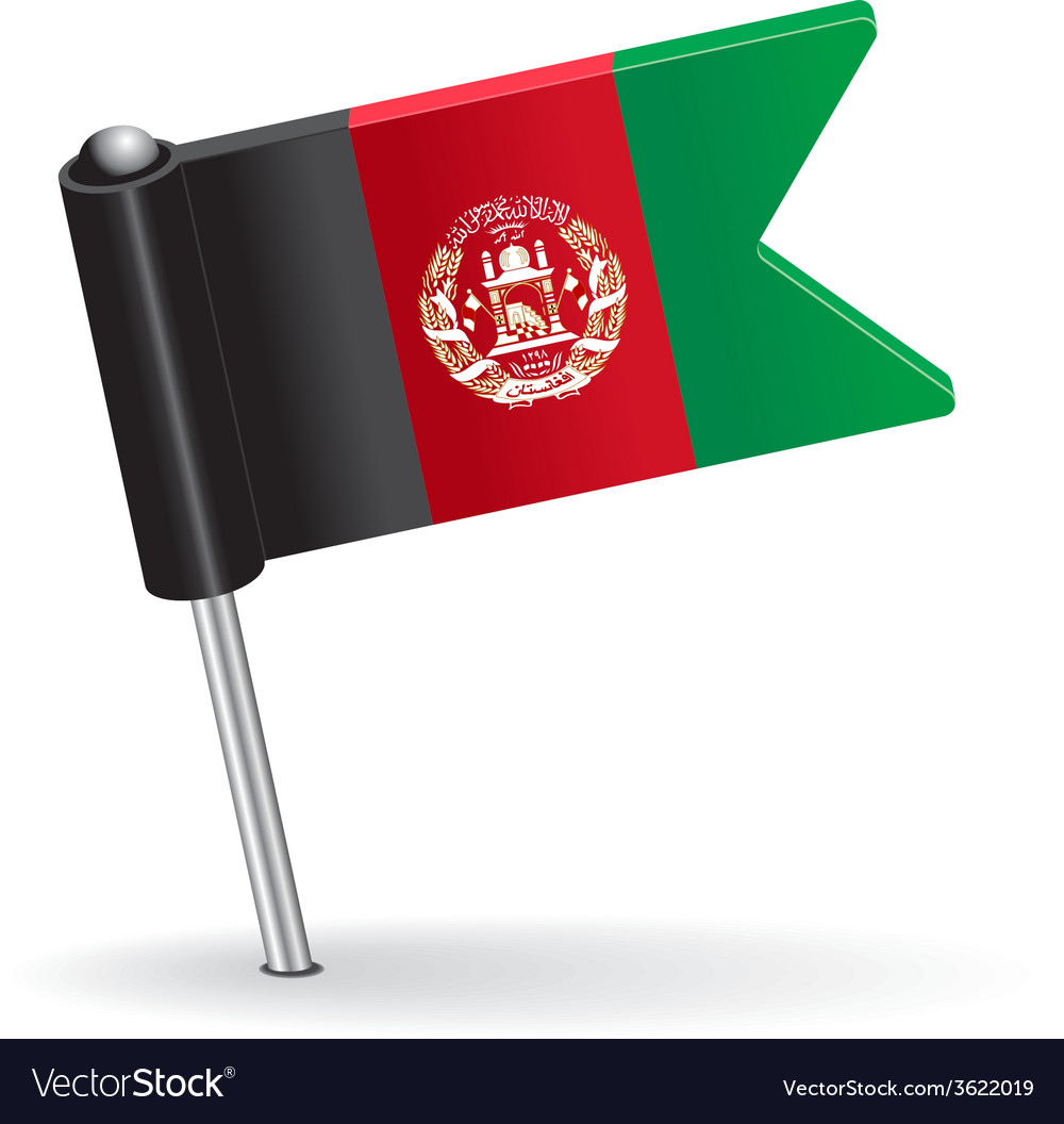 Afghanistan pin icon flag vector | Price: 1 Credit (USD $1)