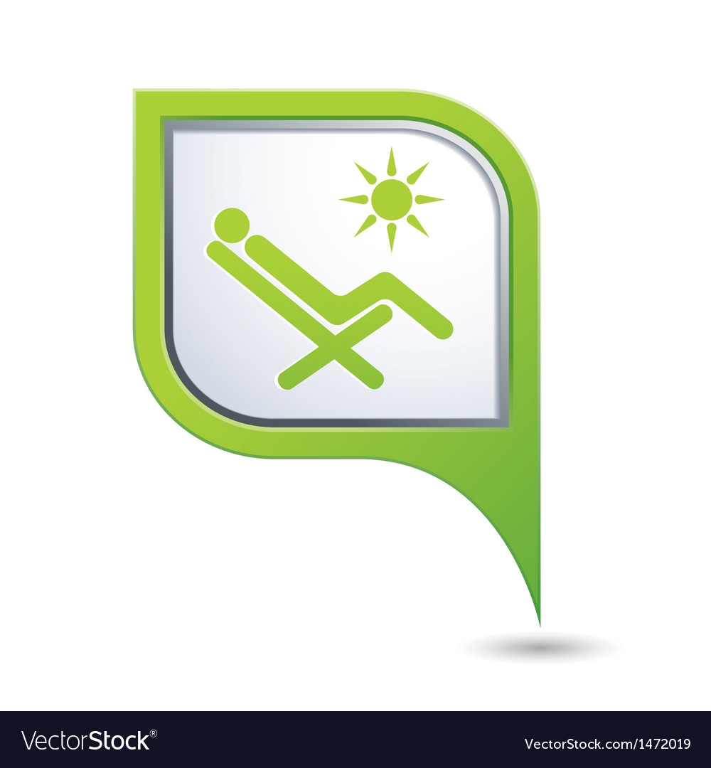 Beach chair icon on green pointer vector | Price: 1 Credit (USD $1)