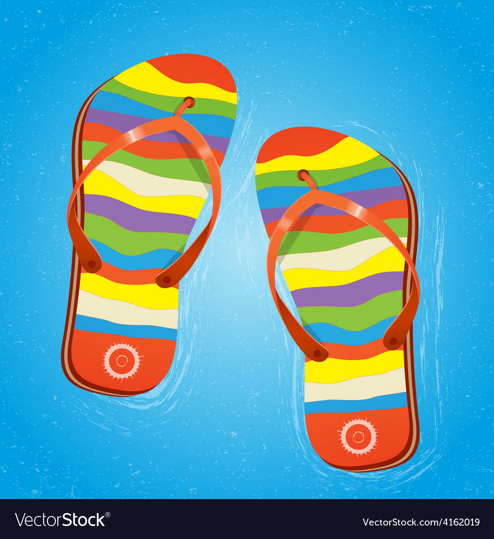 Beach slippers in water vector | Price: 1 Credit (USD $1)